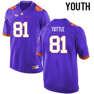 Youth NCAA Clemson Tigers #81 Kanyon Tuttle College Football Purple Jersey 724705-962