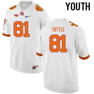 Youth NCAA Clemson Tigers #81 Kanyon Tuttle College Football White Jersey 169754-678