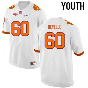 Youth NCAA Clemson Tigers #60 Kelby Bevelle College Football White Jersey 744023-156