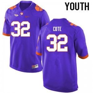 Youth NCAA Clemson Tigers #32 Kyle Cote College Football Purple Jersey 181412-879