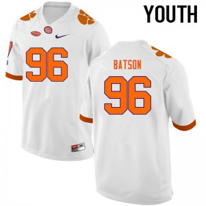 Youth NCAA Clemson Tigers #96 Michael Batson College Football White Jersey 840179-258