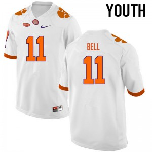 Youth NCAA Clemson Tigers #11 Shadell Bell College Football White Jersey 504409-317