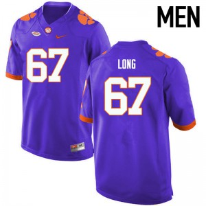 Mens NCAA Clemson Tigers #67 Stacy Long College Football Purple Jersey 240662-705