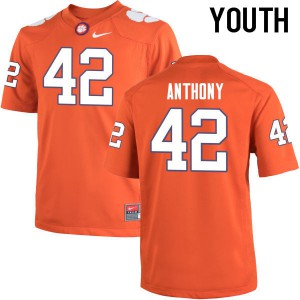 Youth NCAA Clemson Tigers #42 Stephone Anthony College Football Orange Jersey 820067-937