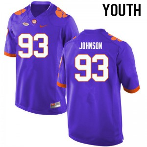 Youth NCAA Clemson Tigers #93 Sterling Johnson College Football Purple Jersey 488720-757