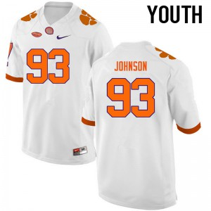 Youth NCAA Clemson Tigers #93 Sterling Johnson College Football White Jersey 275712-469