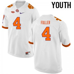 Youth NCAA Clemson Tigers #4 Steve Fuller College Football White Jersey 438888-886