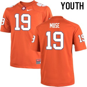 Youth NCAA Clemson Tigers #19 Tanner Muse College Football Orange Jersey 147582-753