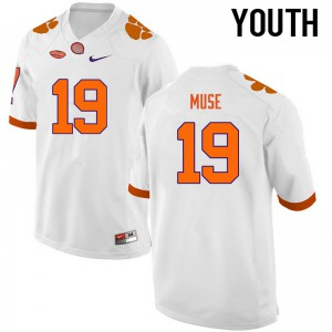 Youth NCAA Clemson Tigers #19 Tanner Muse College Football White Jersey 927076-802