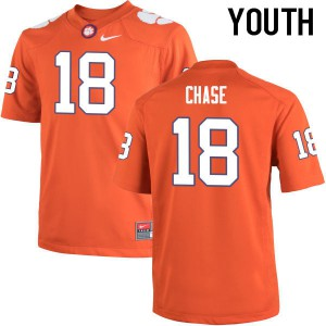 Youth NCAA Clemson Tigers #18 Tavares Chase College Football Orange Jersey 195263-968