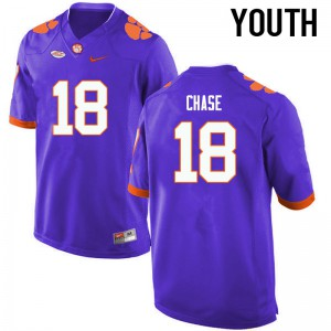 Youth NCAA Clemson Tigers #18 Tavares Chase College Football Purple Jersey 148184-972