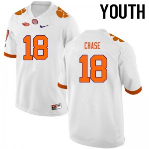 Youth NCAA Clemson Tigers #18 Tavares Chase College Football White Jersey 957500-794