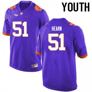 Youth NCAA Clemson Tigers #51 Taylor Hearn College Football Purple Jersey 195457-782