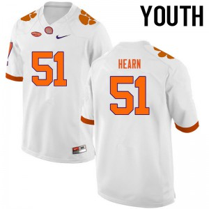 Youth NCAA Clemson Tigers #51 Taylor Hearn College Football White Jersey 699294-384
