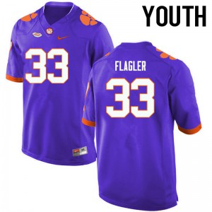Youth NCAA Clemson Tigers #33 Terrence Flagler College Football Purple Jersey 393081-906
