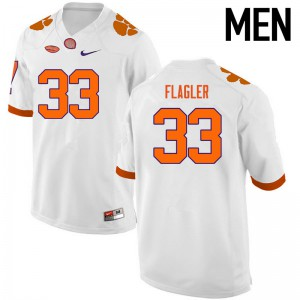 Mens NCAA Clemson Tigers #33 Terrence Flagler College Football White Jersey 334640-297