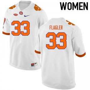 Women's NCAA Clemson Tigers #33 Terrence Flagler College Football White Jersey 709966-317