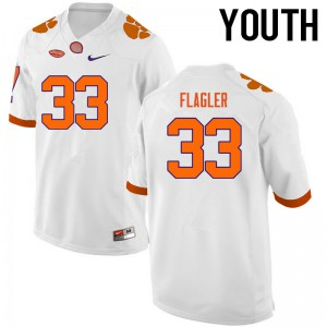 Youth NCAA Clemson Tigers #33 Terrence Flagler College Football White Jersey 907869-310