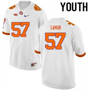 Youth NCAA Clemson Tigers #57 Tre Lamar College Football White Jersey 330798-570