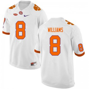 Mens NCAA #8 Tre Williams Clemson Tigers College Football White Jersey 933025-734
