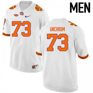 Mens NCAA Clemson Tigers #73 Tremayne Anchrum College Football White Jersey 443088-881
