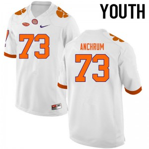 Youth NCAA Clemson Tigers #73 Tremayne Anchrum College Football White Jersey 351810-797