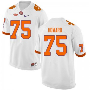 Mens NCAA #75 Trent Howard Clemson Tigers College Football White Jersey 751086-627