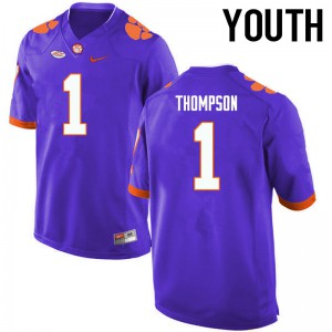 Youth NCAA Clemson Tigers #1 Trevion Thompson College Football Purple Jersey 408491-353