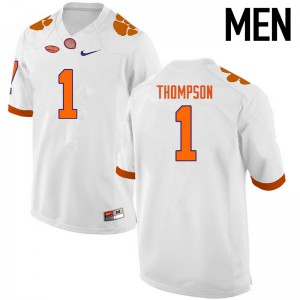 Mens NCAA Clemson Tigers #1 Trevion Thompson College Football White Jersey 952239-296