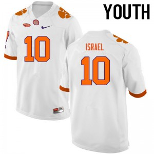 Youth NCAA Clemson Tigers #10 Tucker Israel College Football White Jersey 528022-745