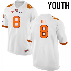 Youth NCAA Clemson Tigers #8 Tye Hill College Football White Jersey 308404-708