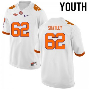 Youth NCAA Clemson Tigers #62 Tyler Shatley College Football White Jersey 865353-248