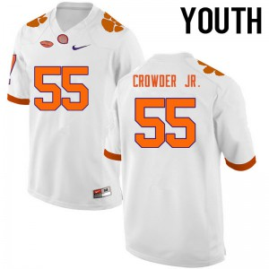 Youth NCAA Clemson Tigers #55 Tyrone Crowder Jr. College Football White Jersey 765812-293