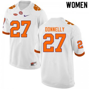 Women's NCAA #27 Carson Donnelly Clemson Tigers College Football White Jersey 677302-701