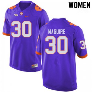 Women's NCAA #30 Keith Maguire Clemson Tigers College Football Purple Jersey 484676-256