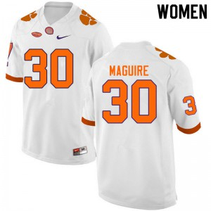 Women's NCAA #30 Keith Maguire Clemson Tigers College Football White Jersey 428651-815