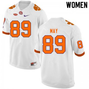 Women's NCAA #89 Max May Clemson Tigers College Football White Jersey 652746-905