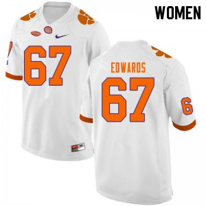 Women's NCAA #67 Will Edwards Clemson Tigers College Football White Jersey 302679-965