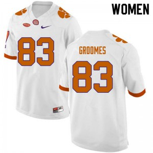 Women's NCAA #83 Carter Groomes Clemson Tigers College Football White Jersey 557132-152