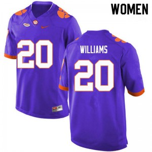 Women's NCAA #20 LeAnthony Williams Clemson Tigers College Football Purple Jersey 709488-887
