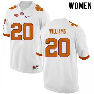 Women's NCAA #20 LeAnthony Williams Clemson Tigers College Football White Jersey 425544-784