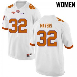 Women's NCAA #32 Sylvester Mayers Clemson Tigers College Football White Jersey 762995-373