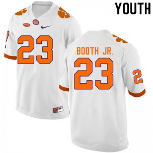 Youth NCAA #23 Andrew Booth Jr. Clemson Tigers College Football White Jersey 509111-276