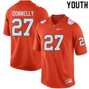 Youth NCAA #27 Carson Donnelly Clemson Tigers College Football Orange Jersey 134991-668