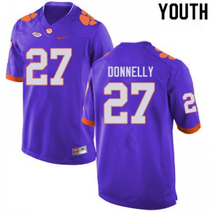 Youth NCAA #27 Carson Donnelly Clemson Tigers College Football Purple Jersey 262001-276