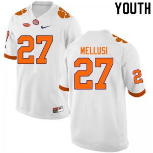 Youth NCAA #27 Chez Mellusi Clemson Tigers College Football White Jersey 737732-899