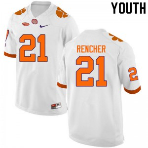 Youth NCAA #21 Darien Rencher Clemson Tigers College Football White Jersey 655484-219