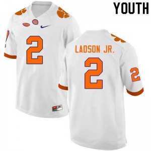 Youth NCAA #2 Frank Ladson Jr. Clemson Tigers College Football White Jersey 349799-996