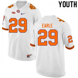 Youth NCAA #29 Hampton Earle Clemson Tigers College Football White Jersey 124009-740