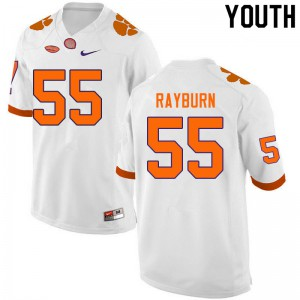 Youth NCAA #55 Hunter Rayburn Clemson Tigers College Football White Jersey 348687-280